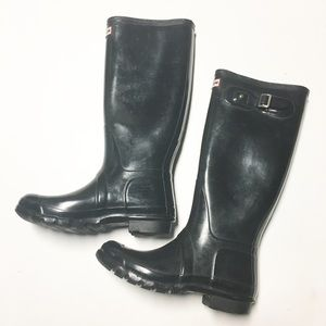 HUNTER Glossy Black Tall Rain Boot Sz 8M/9F